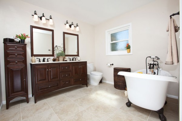 Comparing three bathrooms two modern one transitional - Old fashioned bathroom furniture ...
