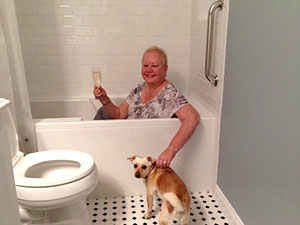 Holly enjoying her newly remodeled bath