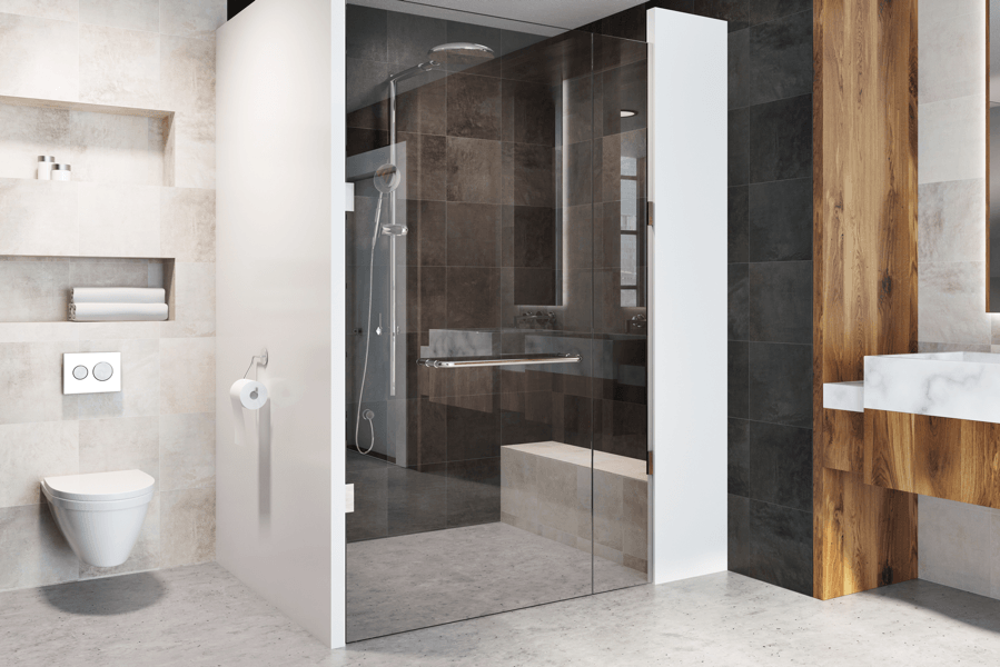modern curbless shower