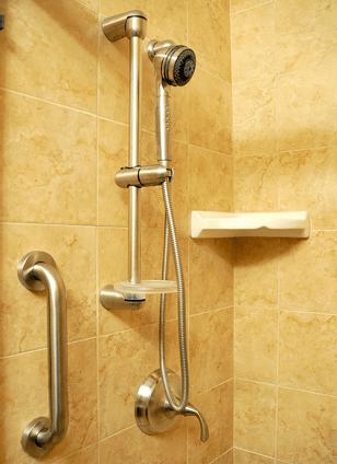 Shower head grab bar