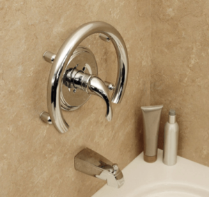 Shower valve grab bar