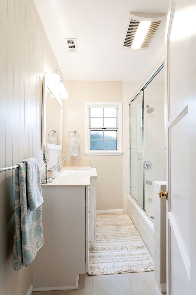 one week bath remodel cream bathroom