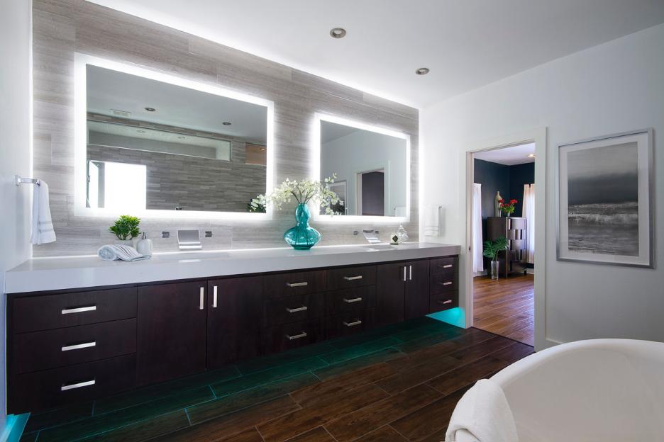 bathroom-remodel-dark-wood-lighted-mirrors